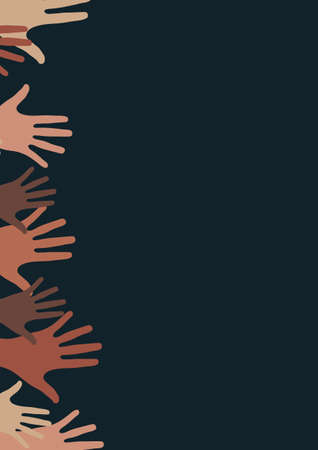 Raised hands, open palms. The concept of charity, volunteering, love, kindness, equality, racial and social issues. Vector illustration for your design. Ilustración de vector