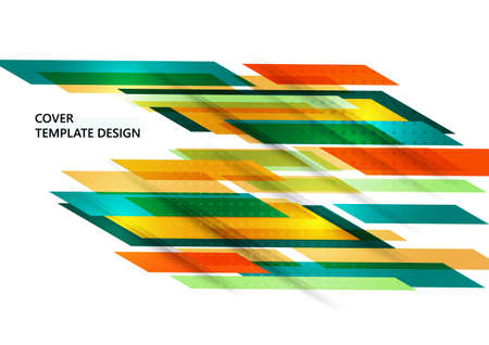 Abstract colored tilted rectangles on a white background. Universal geometric template for corporate design for cover, business card, flyer, report. Vector illustration