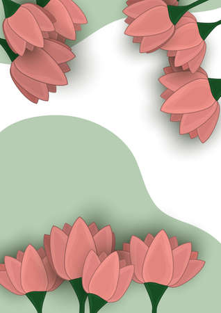 Vector illustration with stylized lily flowers. Floral pattern on a wave background. Sample of textiles in trendy colors.