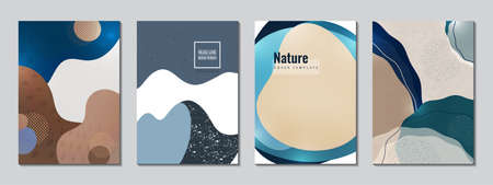 Postcards set. Smooth colored shapes, small particles. Design for cover, poster, flyer, book design Vector illustration