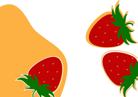Simple strawberry background on white and yellow background. Natural product. Vector illustration