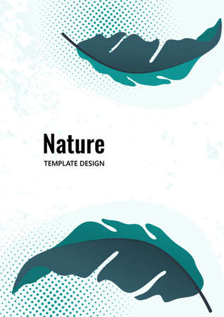 Composition from exotic tropical leaves on a white background. Template for your design. Vector illustration