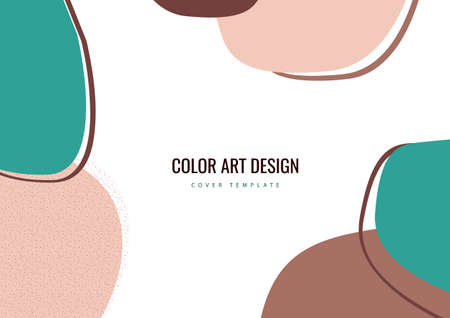 Colorful hand drawn of various shapes and doodle objects. Abstract modern trendy template. Vector illustration. Illustration