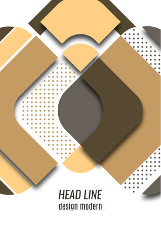 Cut squares with rounded corners and shadow, many dots. Bright geometric design for creative advertising, poster or brochure in trendy style. Vector illustration