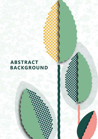 Creative leaves, texture dots on textured background. Seasonal sale, eco concept. Modern cover, poster, for web, page, social, media, ads greeting cards Vector illustration Illustration