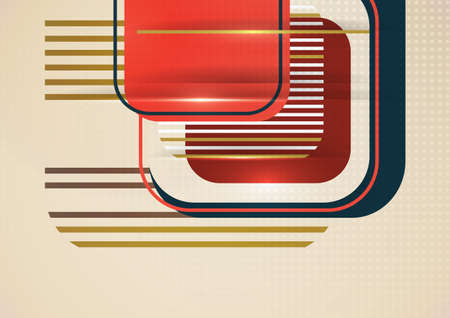 Overlapping rounded squares, lines. Bright geometric design for creative advertising, poster or brochure in trendy style. Vector illustration