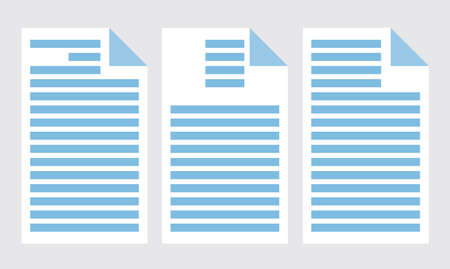 Set of office papers isolated icons. Commercial documentation template with text, sample letters. Vector illustration