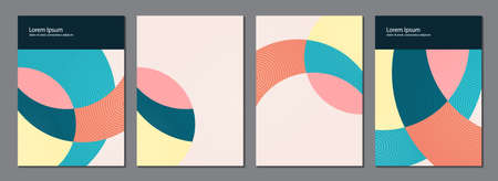 A versatile trending set of layouts or templates with geometric elements. Collage of abstract shapes. Magazine, flyer, billboard, sale, postcards. Vector illustration Illustration