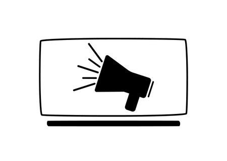 Loudspeaker, monitor icon. Broadcasting news Vector illustration Illustration