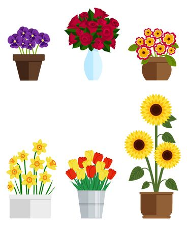 Fleurs et plantes en pots. Jeu d'illustrations vectorielles Vecteurs