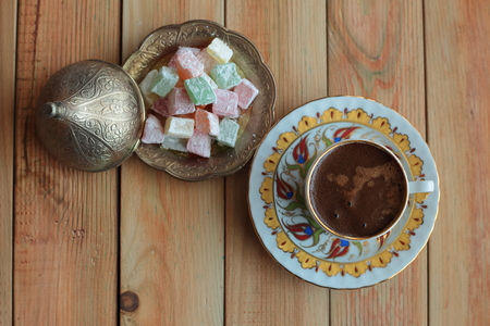 delight: turkish coffee and turkish delight Stock Photo