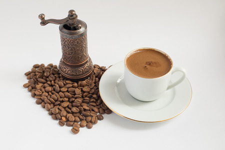 coffee cup and coffee mill