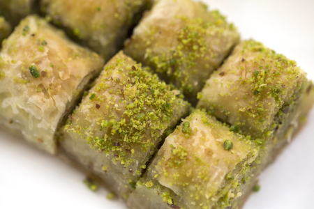 Turkish traditional dessert Baklava with pistachio Фото со стока