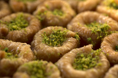 Delicious Turkish traditional dessert Birds nest with pistachio