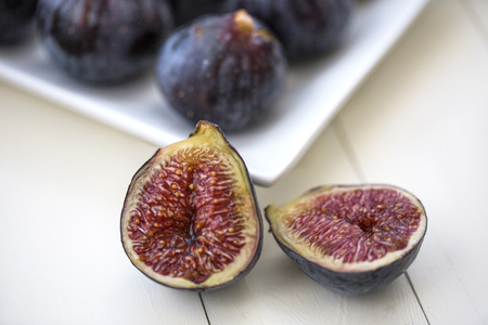fresh figs on white ground