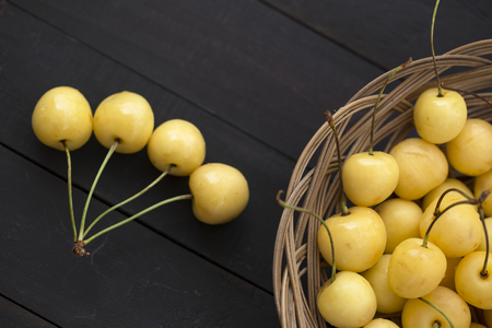 fresh yellow cherry with stem