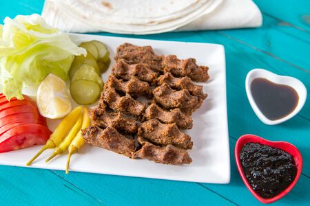 Cig kofte ,Turkish Traditional food made with bulgur and raw meat