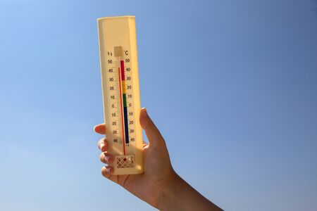 Thermometer with 45 degrees in the sun