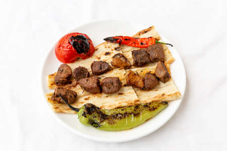 Turkish cuisine, shish kebap with tomato and pepper