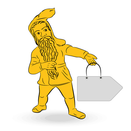 Dwarf, gnome on white background Illustration