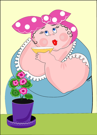 Woman drinks tea or coffee with flower illustration.