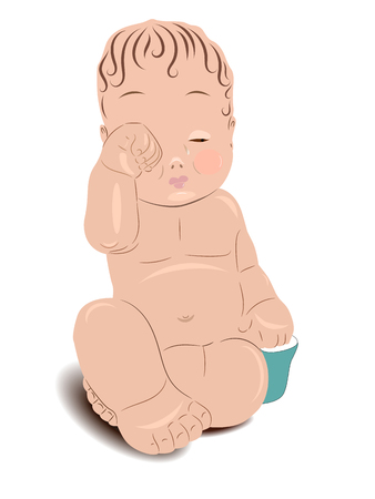 Child, baby sitting naked, vertical vector illustration Foto de archivo - 99582096