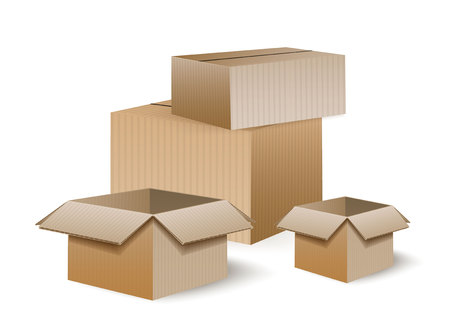 A lot of cardboard boxes of goods. Shipping, freight, logistics and transport concept inventory. Vector illustration isolated on white background. Stock Illustratie