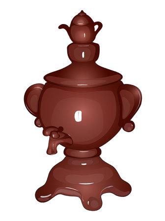 Decorated samovar with black handles 3d render Illustration