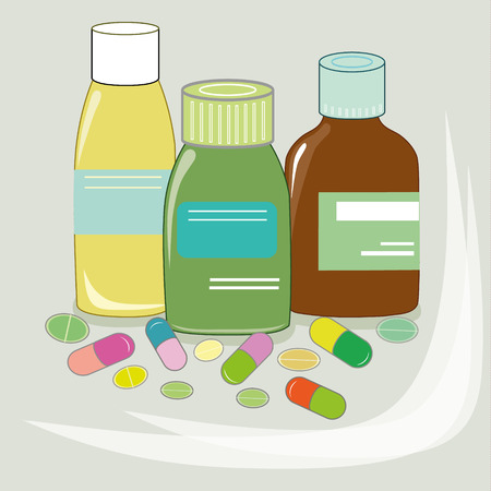 Vector illustration of different medical pills and bottles, pharmacy, drug store. Healthcare concept in