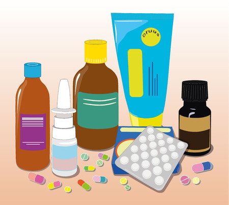 Vector illustration of different medical pills and bottles, pharmacy, drug store. Healthcare concept