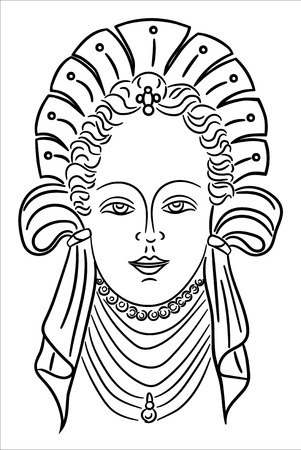 Portrait of a girl in ancient clothes, vector, illustration on a white background