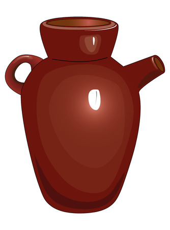Brown ceramic jug with one handle and ceramic tableware.