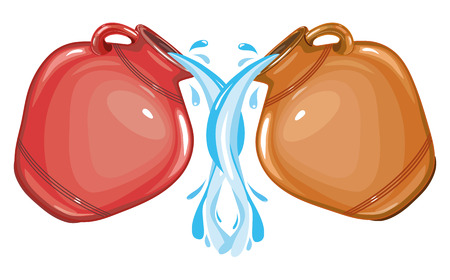 Water pours from clay glossy red jug on white background, vector