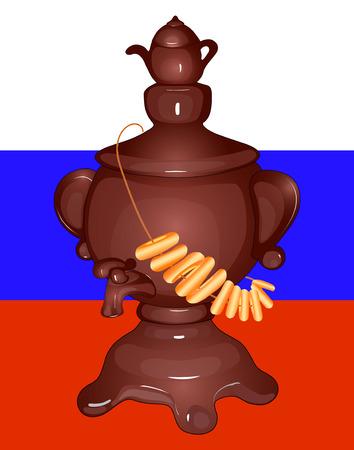 Samovar with kettle, matryoshka, Russian flag. Poster Çizim