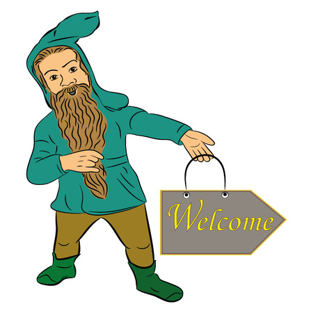 Vector illustration of a dwarf with a beard with a mustache , banner Welcome.