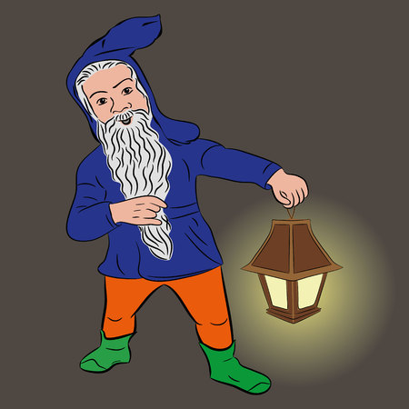 Little people. Funny dwarf with glowing lantern on a dark background. vector Illustration
