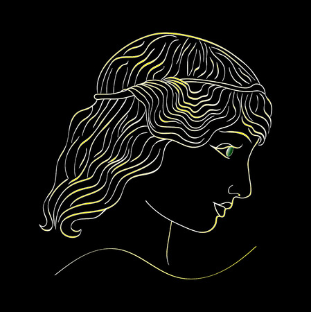 Neon Golden the profile of a girl on a black background. vector. 向量圖像