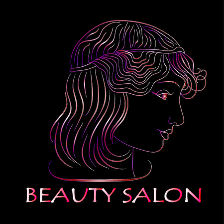 beauty salon, Neon Golden the profile of a girl on a black background. vector.