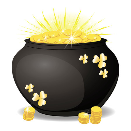 Ceramic pot with gold coins. shining with gold. Isolated on white vector illustration Stock fotó - 109878004