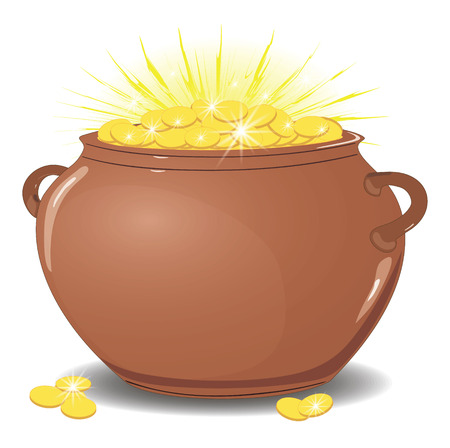 Ceramic pot with gold coins. shining with gold. Isolated on white vector illustration