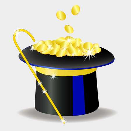 A pot of gold coins. shines gold. Money in hat, cane Isolated on white, vector illustration Foto de archivo - 110485553