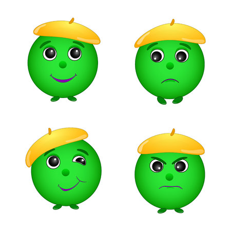 A set of green smiley emotions