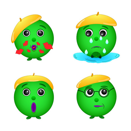 A set of green smiley emotions, face, gingerbread man, green man, illustration, vector 向量圖像