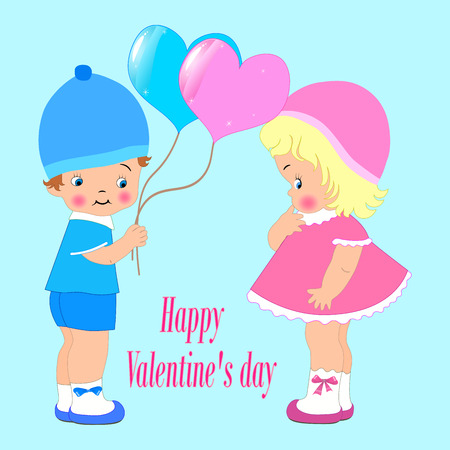 Happy Valentines day for invitation or greeting card, cute kids, boy and girl. balloons, vector Çizim