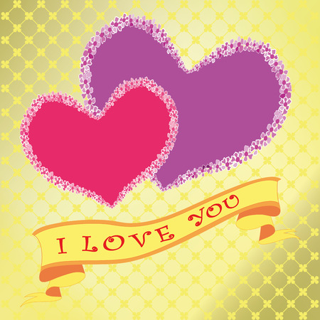 Happy Valentines day. I love you . Heart on gold background . vector. Ilustrace