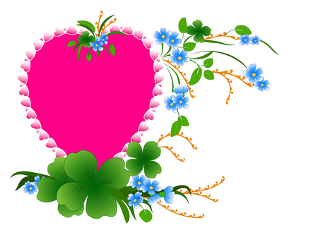 Happy Valentines day. Love. Heart of flowers on pink background . vector.