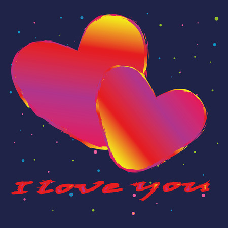 Happy Valentines day. I love you . Heart on gray background . vector. Иллюстрация