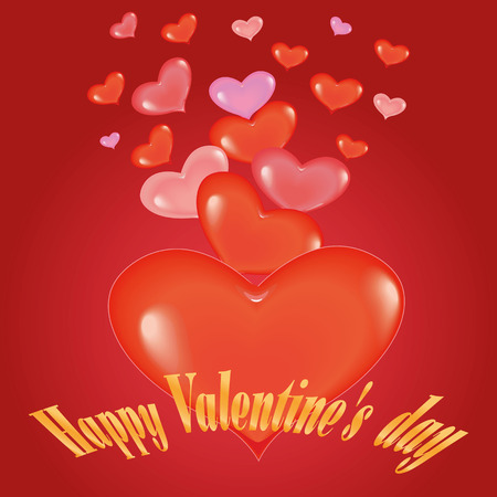 Happy Valentines day. I love you . Red heart on red background .vector.