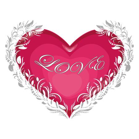 love Invitation card Valentines day heart on white background with text love Vector illustration Ilustração