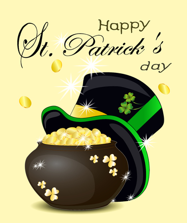 Happy St. Patricks day. Pot of gold with magic rainbow 일러스트